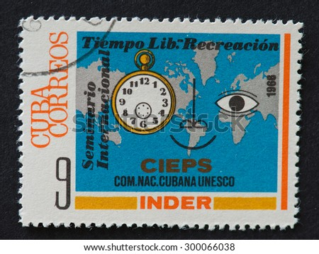 HAVANA,CUBA- REVOLUTIONARY PERIOD: Stamp printed in the Cuba shows International Leisure Time & Recreation Seminar (Cuban National Commission for UNESCO). - stock photo