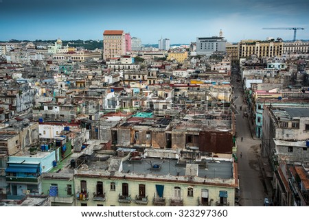 Havana, Cuba - September 26, 2015:  Panoramic view over city of Havana,Cuba. This 16th century city is Cuban largest city , with many areas protected by UNESCO.
