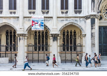 HAVANA,CUBA-SEPTEMBER 19,2015:Reina Church, the Parish of the Sacred Heart of Jesus and St. Ignatius of Loyola is one of the most beautiful Catholic temples.It was visited by the Pope Francis next day