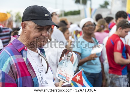 HAVANA,CUBA-SEPTEMBER 20,2015: Scenes of Pope Francis visit to Havana, specifically the historic Catholic Mass held in the Revolution Square in the morning.