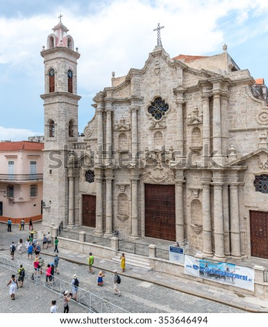 HAVANA,CUBA-SEPTEMBER 19,2015:The Cathedral of The Virgin Mary of the Immaculate Conception is one of eleven Roman Catholic cathedrals on the island of Cuba.Old Havana is a Unesco World Heritage Site