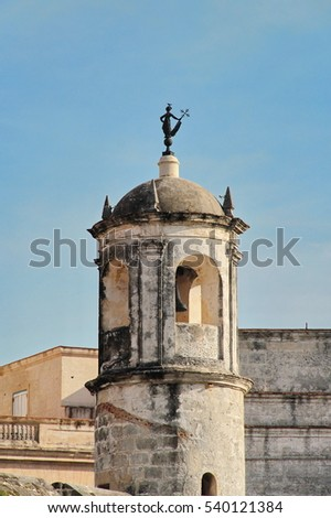 "Havana, Cuba: watchtower of Castillo de la Real Fuerza (""Royal Force Fortress""), with the iconic statue of La Giraldilla (Havana's symbol) on top"