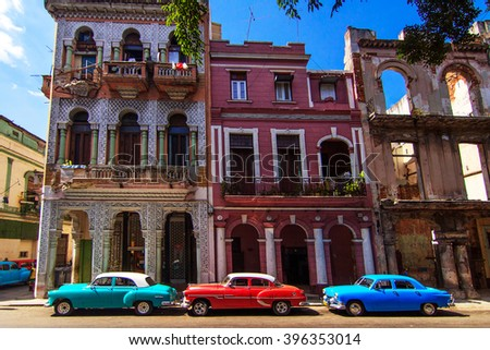 HAVANA - FEBRUARY 12: Classic car parked on the street on February 12, 2016 in Havana. These old and classic cars are an iconic sight of the Cuba Island. - stock photo