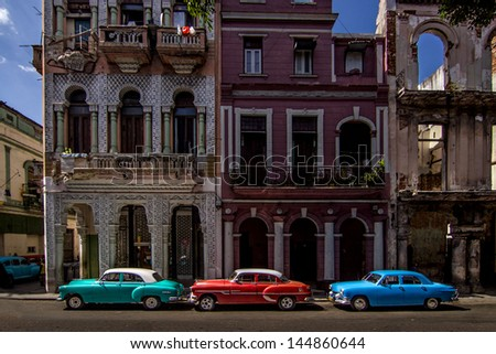HAVANA - FEBRUARY 12: Classic cars parked on the street on February 12, 2013 in Havana. Under the current law,Cubans can only trade cars that were on the road before 1959. - stock photo