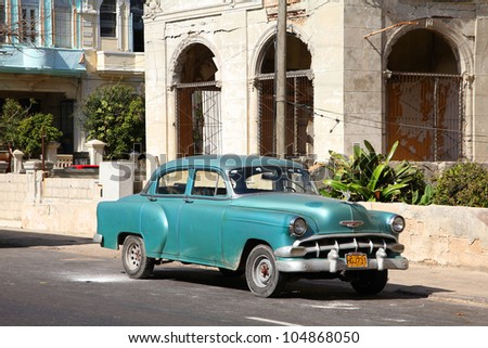 HAVANA - FEBRUARY 24: Classic Chevrolet car on February 24, 2011 in Havana. Recent change in law allows the Cubans to trade cars again. Old law resulted in very old fleet of private owned cars in Cuba - stock photo