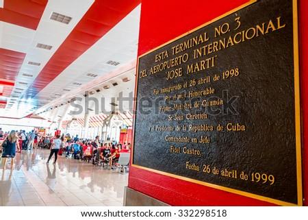 HAVANA - FEBRUARY 27: Tourists wait for their flights on February 27, 2011 in Havana Airport, Cuba. Havana's Jose Marti International Airport accounts for 80% of Cuba's international passengers. - stock photo
