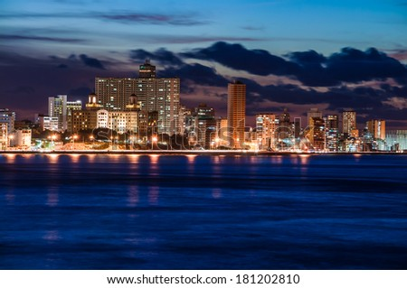 Havana (Habana) at night, view from the Morro and Cabana Castles, across the La Habana bay - stock photo
