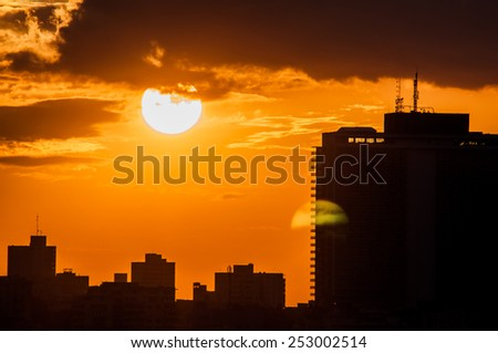 Havana (Habana) in sunset, view from the Morro and Cabana Castles, across the La Habana bay - stock photo