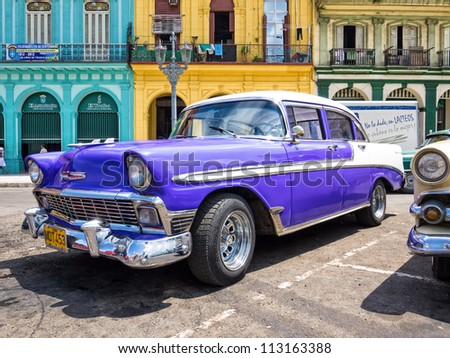 HAVANA-SEPTEMBER 13:Old Chevrolet September 13,2012 in Havana.Thousands of these cars are still used in Cuba,mainly by private taxi drivers who need to manufacture or adapt parts to keep them running - stock photo