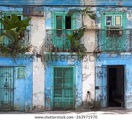 Havana street scape  - stock photo
