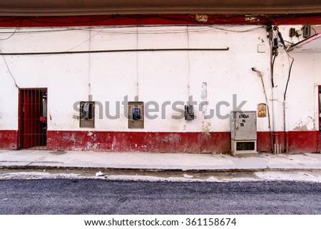 Havana street scene, pay phones  - stock photo