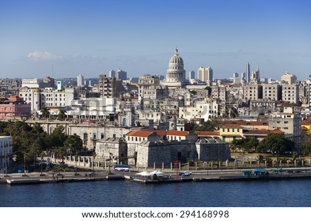 Havana. View of the  city through a bay 