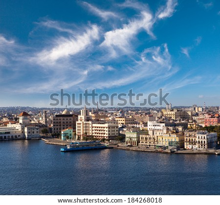 Havana. View of the old city through a bay  - stock photo