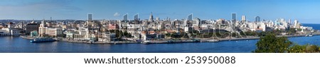 Havana. View of the old city through a bay from Morro's fortress. Panorama - stock photo