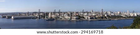 Havana. View of the old city through a bay ,panorama - stock photo