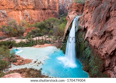 Havasu Falls, Havasupai, Grand Canyon, Arizona - stock photo