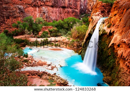Havasu Falls, natural paradise in the Grand Canyon - stock photo