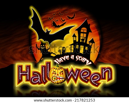 Have a scary Halloween lettering with pumpkin, haunted house and tree with flying bats graphic.