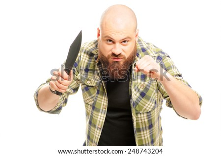 Have at you! threatening man with beard holding a knife in his hand over white background