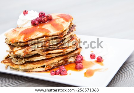 have delicious pancake for breakfast - stock photo