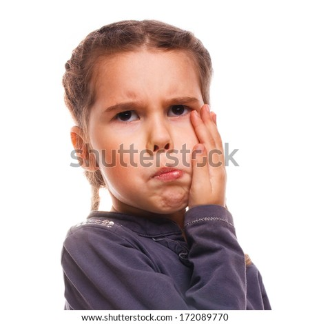 have girl little child toothache, emotions large inflated cheek emotion background
