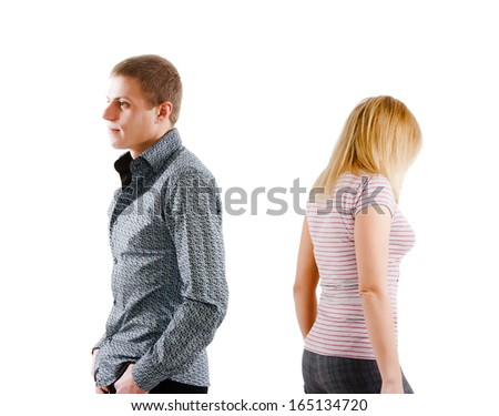 Have turned away from each other young man and woman - stock photo