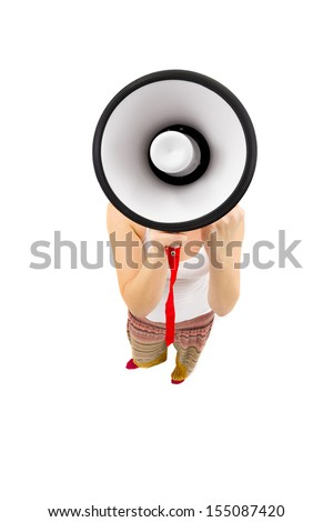 Have You Heard the News... Woman holding megaphone and yelling, fisheye lens, studio shot - stock photo