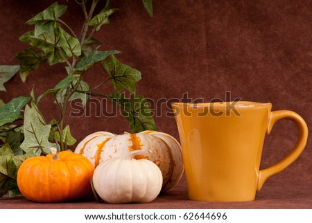 Having a Pumpkin Flavored Holiday Drink - stock photo