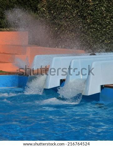 having fun at the waterpark - stock photo
