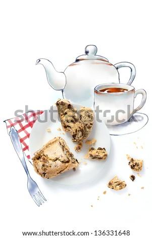 Having tea with a nut and raisin pie - stock photo