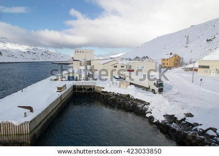 Havoysund is the administrative centre of the Masoy municipality in Finnmark county Norway The harbor on March 26, 2016.