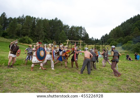 HAVRANOK, SLOVAKIA - JULY 09, 2016: Fight between Romans and sav