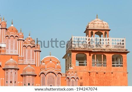 hawa mahal palace of winds in india - rajasthan - jaipur - stock photo