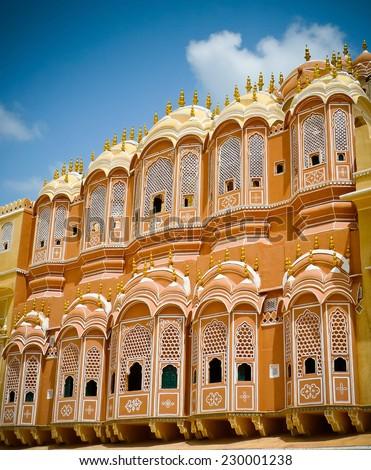 Hawa Mahal palace (Palace of the Winds), detail of internal court facade, Jaipur, Rajasthan, India - stock photo