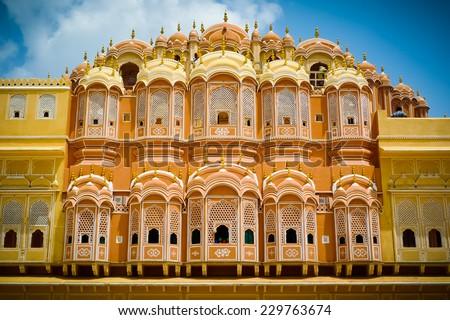 Hawa Mahal palace (Palace of the Winds), internal court facade, Jaipur, Rajasthan, India - stock photo