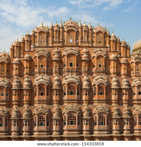 Hawa Mahal, the Palace of Winds, Jaipur, Rajasthan, India. - stock photo