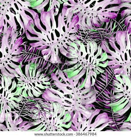 Hawaii background. Beautiful watercolor seamless pattern with monstera, palm and frangipani. Tropical flowers and leaves hawaii background. Monstera swimwear hawaii background. - stock photo
