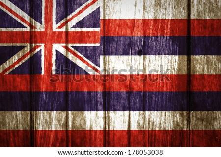 Hawaii Flag painted on old wood background - stock photo