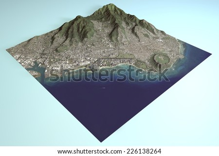 Hawaii, Honolulu, Waikiki, satellite view, in section 3d. Element of this image are furnished by NASA - stock photo