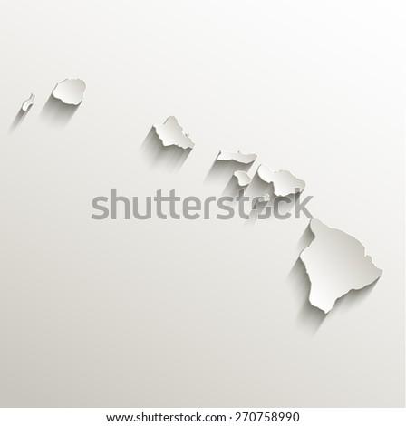 Hawaii map card paper 3D natural raster - stock photo