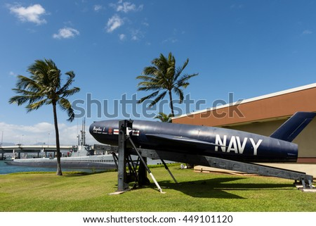 HAWAII - MARCH 2: Close up composition of the Navy's Regulus missile in Pearl Harbor Hawaii on March 2, 2016.