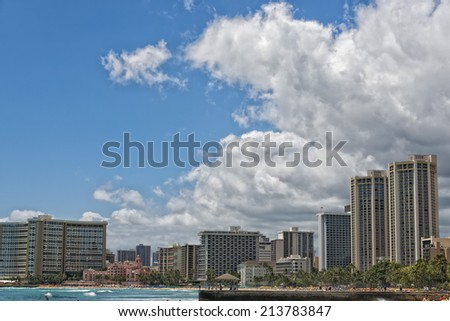 Hawaii oahu island Waikiki beach panorama