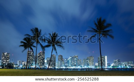 Hawaii skyline and palm trees at night