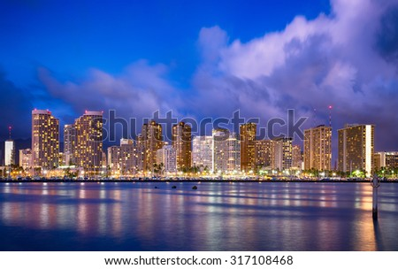 Hawaii skyline at night - stock photo