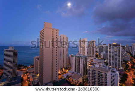 Hawaii skyline under the moonlight - stock photo