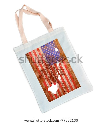 Hawaii state of the United States of America in grunge flag pattern over white shopping bag isolated on white background