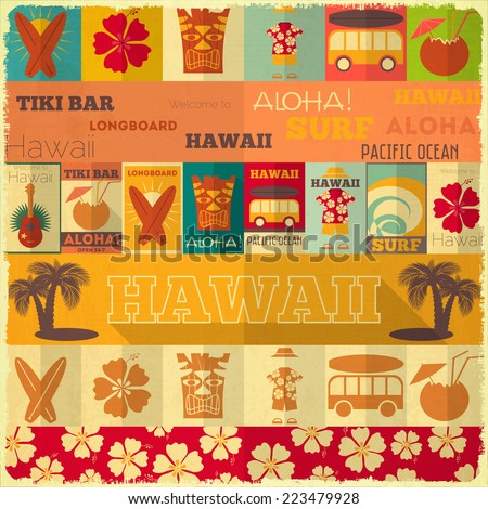 Hawaii Surf Retro Card in Vintage Design Style. Illustration. - stock photo