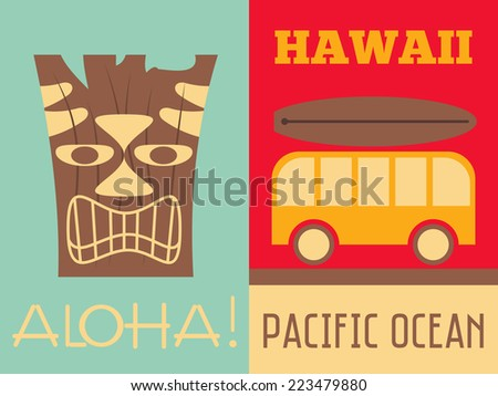 Hawaii Surf Retro Posters Collection. Illustration. - stock photo