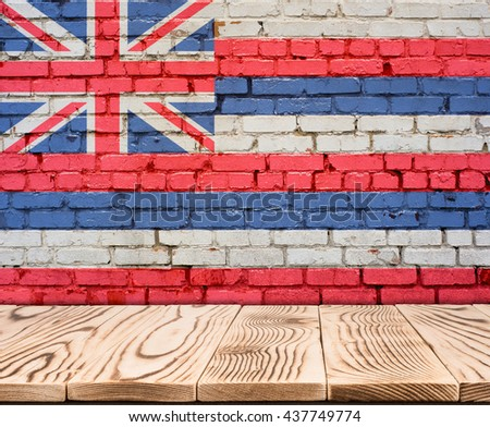 Hawaii US flag painted on brick wall with wooden floor - stock photo