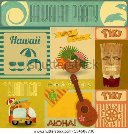 Hawaii Vintage Card. Set of stickers for Hawaiian Party in Retro Style. JPEG version - stock photo